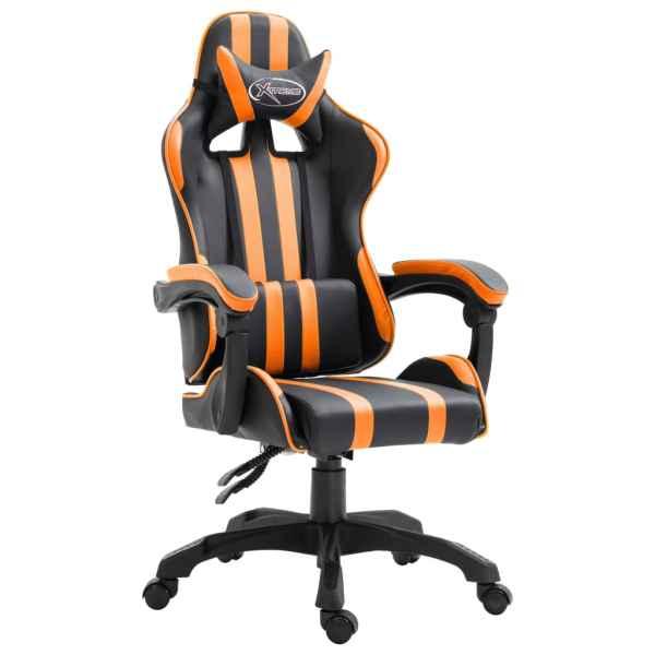 vidaXL Scaun pentru jocuri, portocaliu, piele ecologică