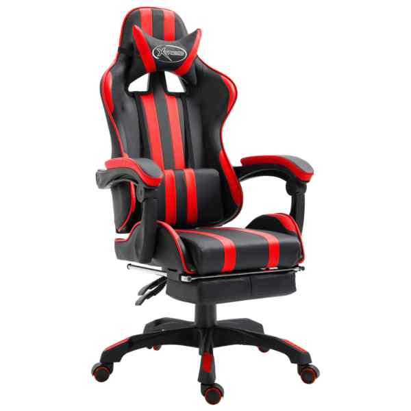 vidaXL Scaun pentru jocuri cu suport picioare, roșu, piele ecologică
