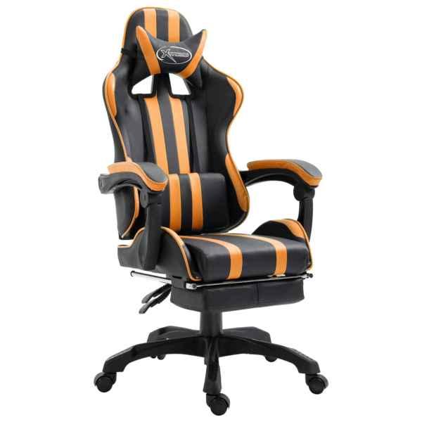 vidaXL Scaun jocuri cu suport picioare, portocaliu, piele ecologică