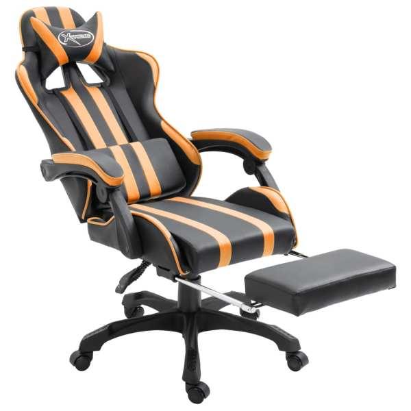 Scaun jocuri cu suport picioare, portocaliu, piele ecologică