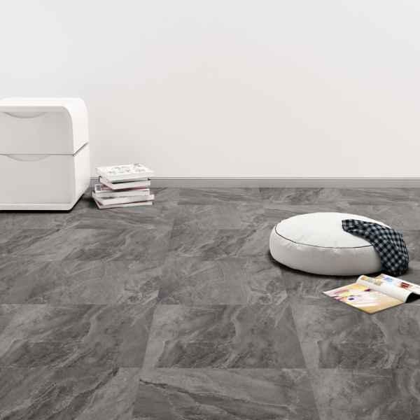 vidaXL Plăci de pardoseală autoadezive, PVC, 5,11 m², negru, cu model