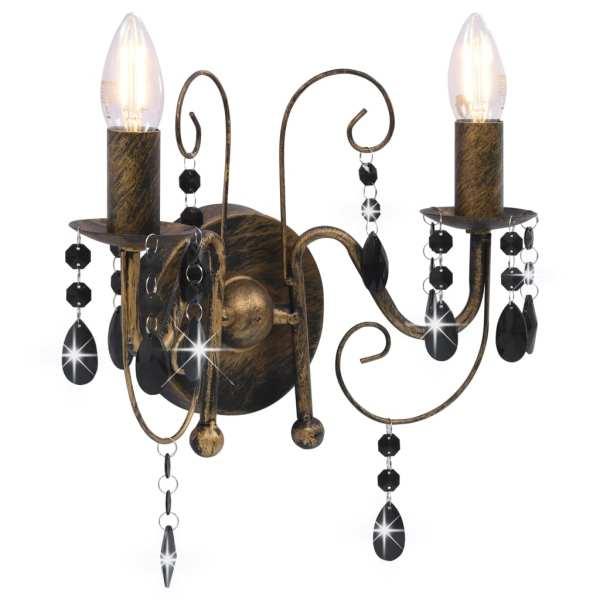 vidaXL Lampă de perete cu mărgele, negru antichizat, 2 becuri x E14