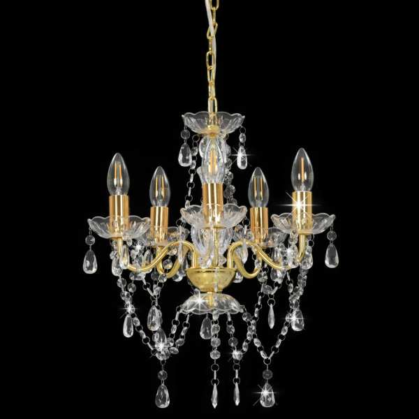 vidaXL Candelabru cu mărgele de cristal, auriu, rotund, 5 x E14