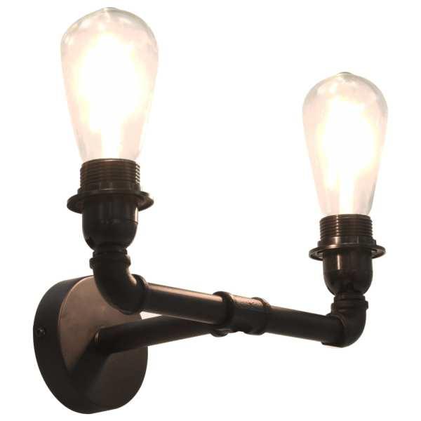 vidaXL Lampă de perete cu 2 brațe, negru, 2 becuri x E27