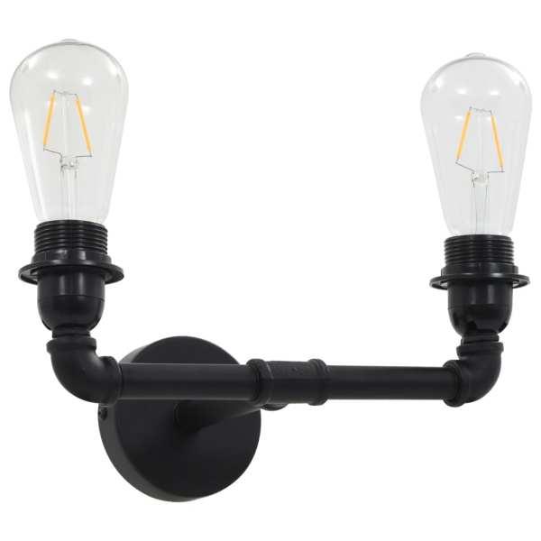 Lampă de perete cu 2 brațe, negru, 2 becuri x E27