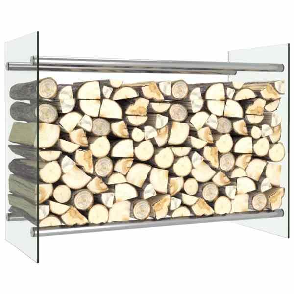 vidaXL Rastel lemne de foc, transparent, 80 x 35 x 60 cm, sticlă