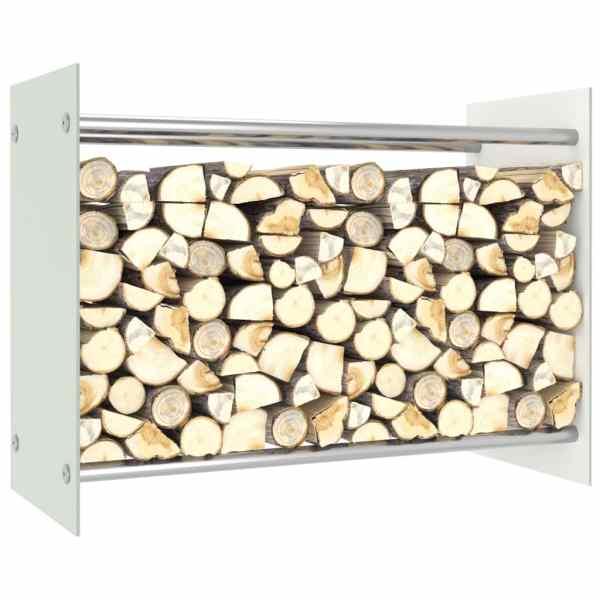 vidaXL Rastel lemne de foc, alb, 80 x 35 x 60 cm, sticlă
