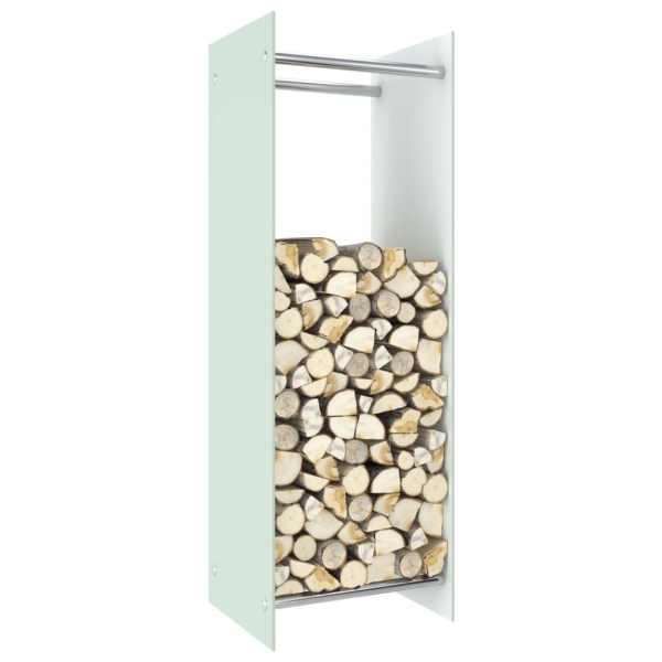 vidaXL Rastel pentru lemne de foc, alb, 40 x 35 x 120 cm, sticlă