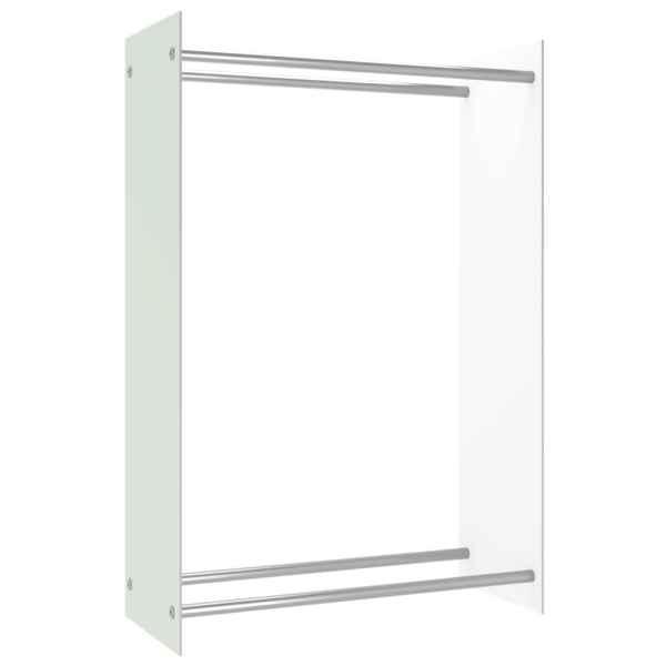 vidaXL Rastel lemne de foc, alb, 80 x 35 x 120 cm, sticlă