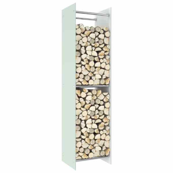 vidaXL Rastel lemne de foc, alb, 40 x 35 x 160 cm, sticlă