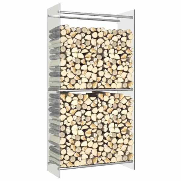 vidaXL Rastel lemne de foc, transparent, 80 x 35 x 160 cm, sticlă