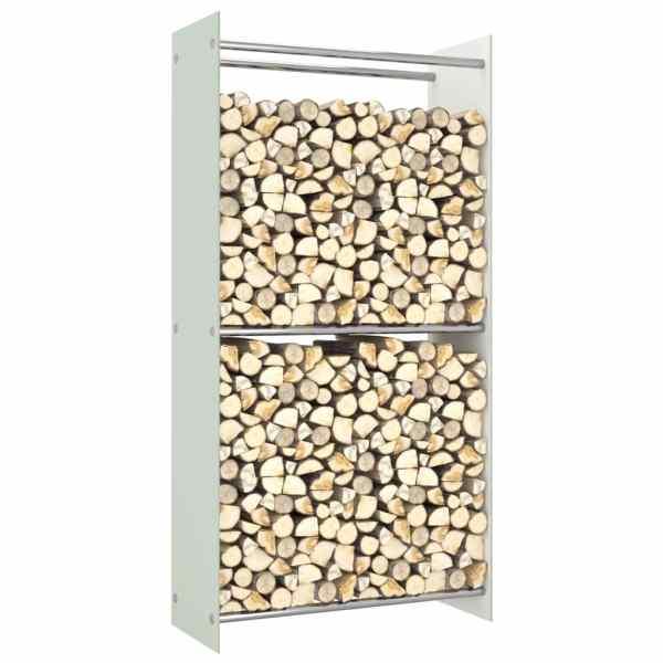 vidaXL Rastel lemne de foc, alb, 80 x 35 x 160 cm, sticlă