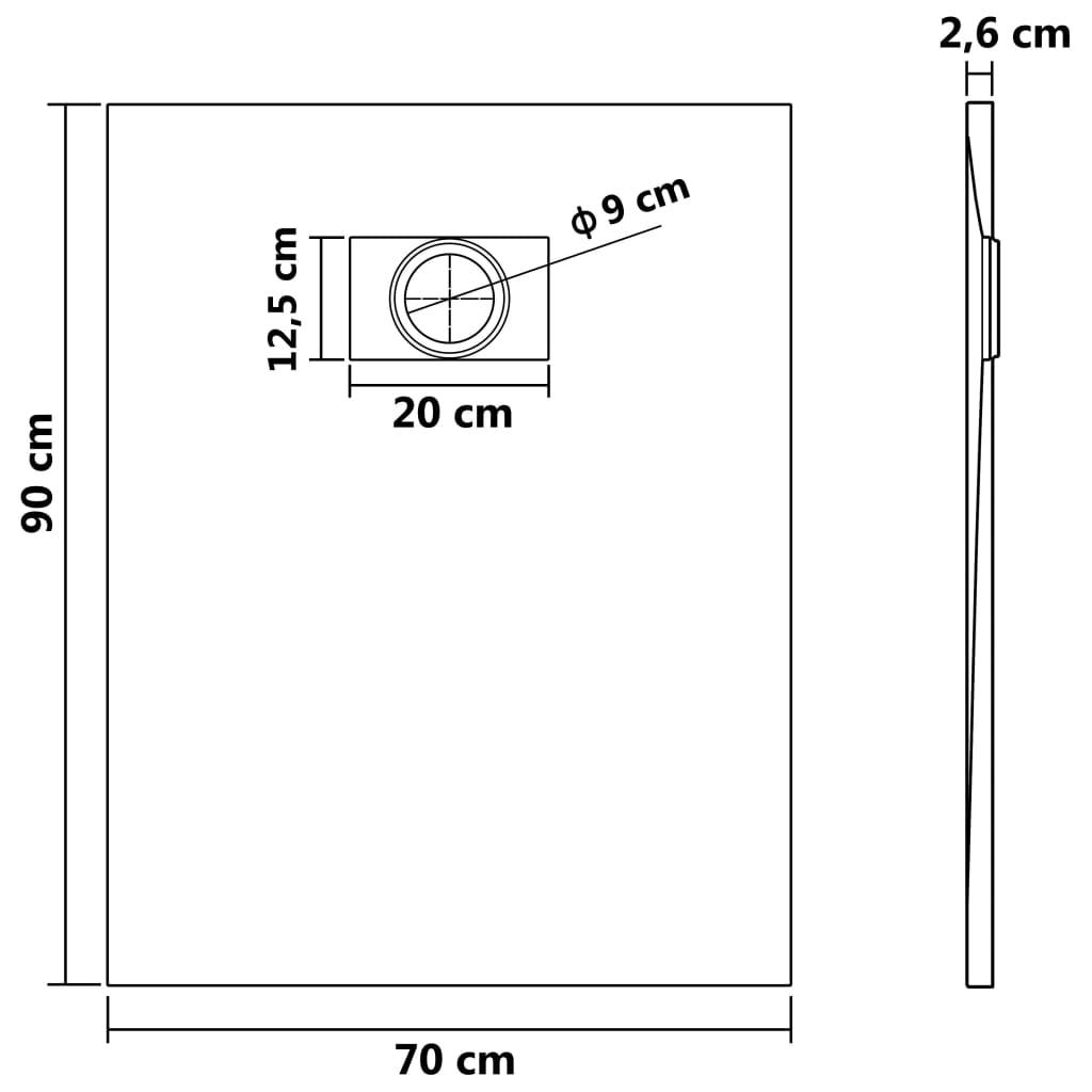 vidaXL Cădiță de duș, alb, 90 x 70 cm, SMC