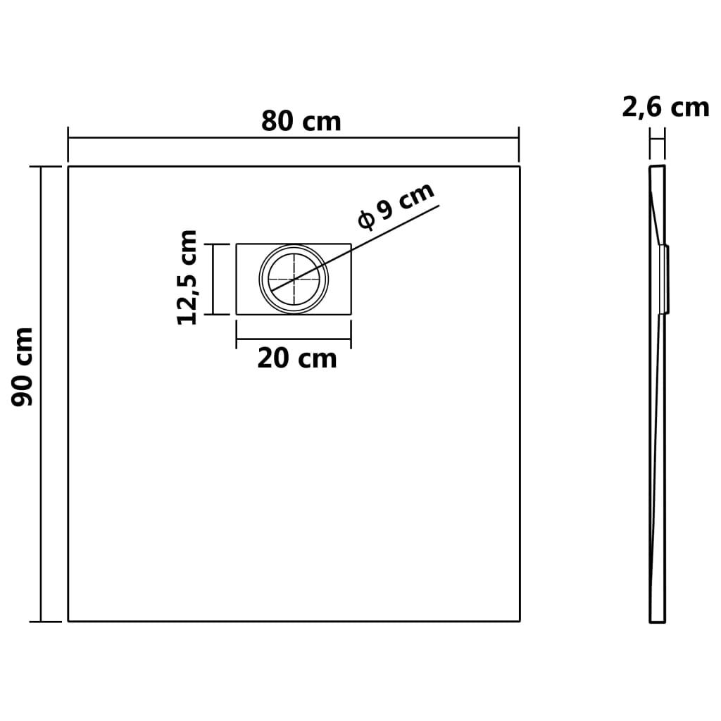 vidaXL Cădiță de duș, alb, 90 x 80 cm, SMC