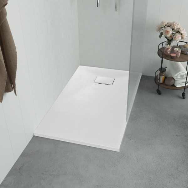 vidaXL Cădiță de duș, alb, 90 x 90 cm, SMC