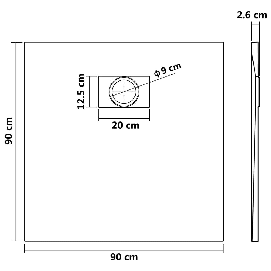 vidaXL Cădiță de duș, negru, 90 x 90 cm, SMC
