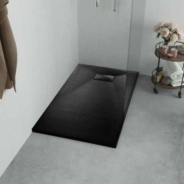 vidaXL Cădiță de duș, negru, 120 x 70 cm, SMC