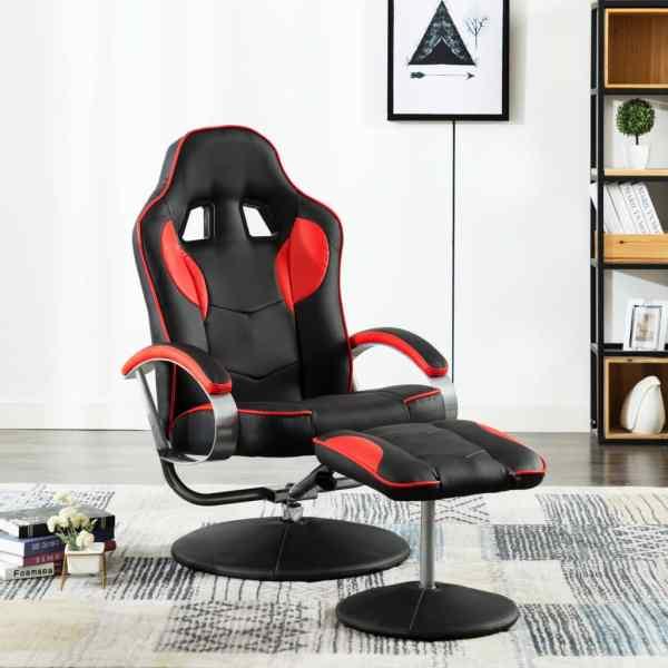 vidaXL Fotoliu gaming rabatabil, cu taburet, roșu, piele ecologică
