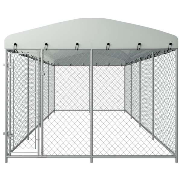 Padoc pentru câini de exterior, cu acoperiș, 8 x 4 x 2 m