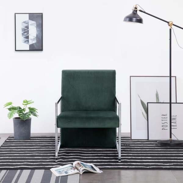 vidaXL Fotoliu cu picioare cromate, verde închis, catifea