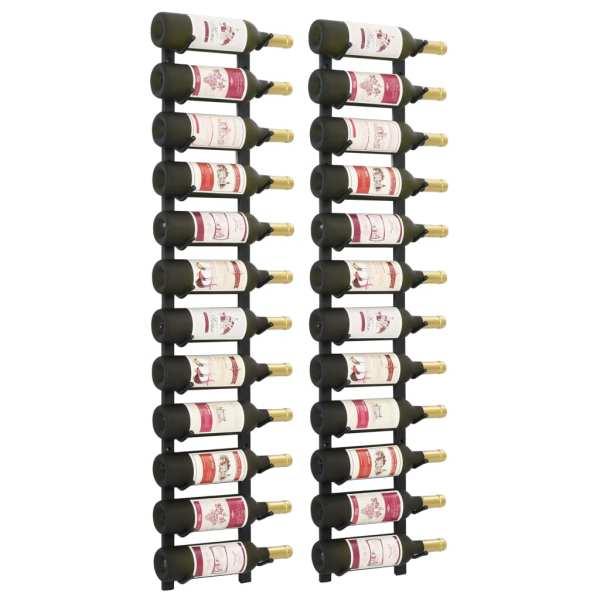 vidaXL Suporturi vin montate pe perete, 12 sticle, 2 buc, negru, fier