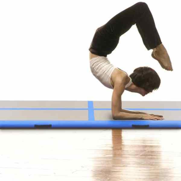 vidaXL Saltea gimnastică gonflabilă cu pompă albastru 400x100x10cm PVC