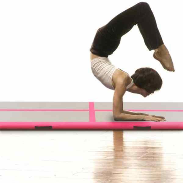 vidaXL Saltea gimnastică gonflabilă cu pompă roz 700x100x10cm PVC