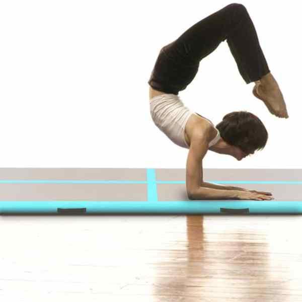 vidaXL Saltea gimnastică gonflabilă cu pompă verde 800x100x10cm PVC