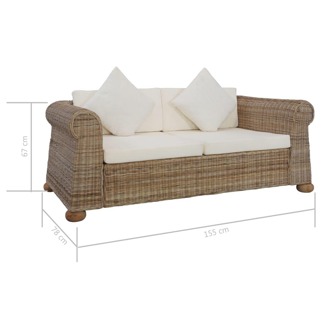 Canapea cu 2 locuri cu perne, culoare naturală, ratan