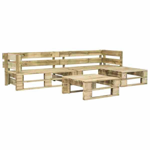 vidaXL Set mobilier de grădină din paleți, 4 piese, lemn