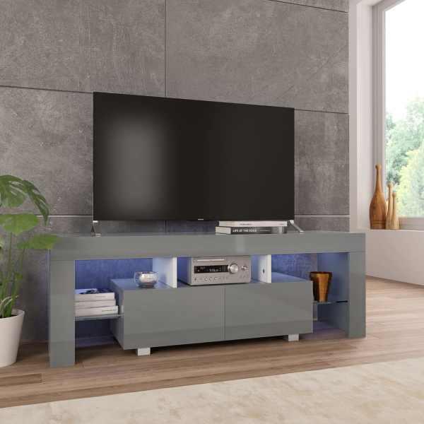 vidaXL Comodă TV cu lumini LED, gri extralucios, 130x35x45 cm
