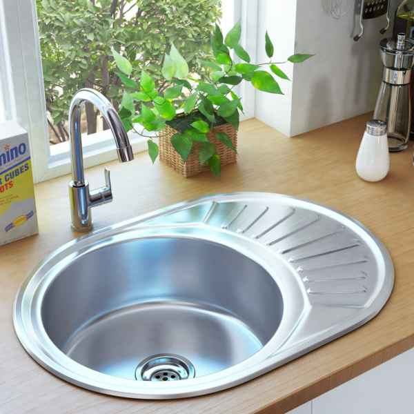 vidaXL Chiuvetă de bucătărie cu sită și sifon, oțel inoxidabil, oval
