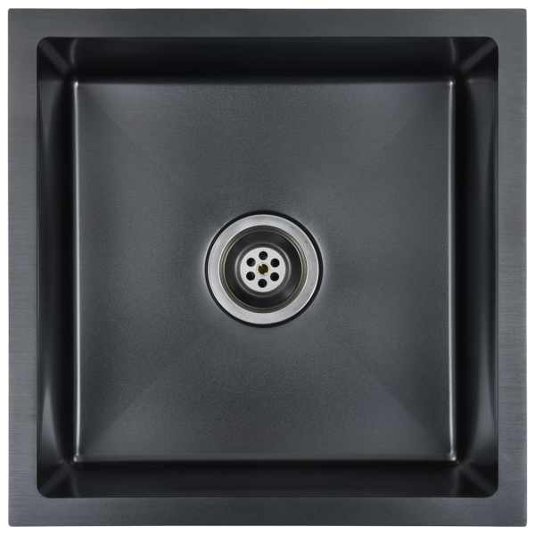 Chiuvetă bucătărie lucrată manual cu sită negru oțel inoxidabil