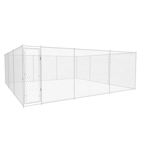 vidaXL Padoc pentru câini de exterior, 570x570x185 cm, oțel galvanizat