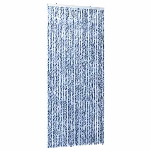 vidaXL Perdea de insecte, albastru, alb, argintiu, 100×220 cm Chenille