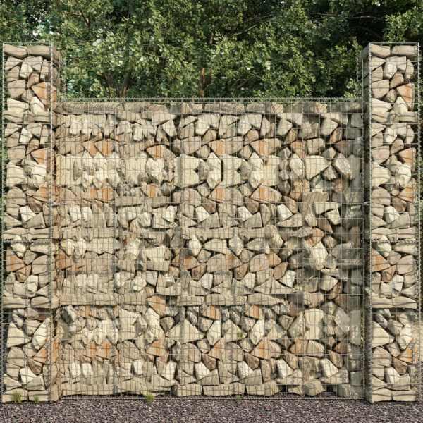 vidaXL Coșuri gabion, 3 buc., 25 x 25 x 197 cm, oțel galvanizat