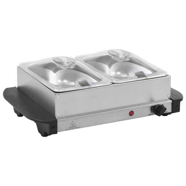 vidaXL Încălzitor de servire bufet, 200 W, 2 X 1,5 L, oțel inoxidabil