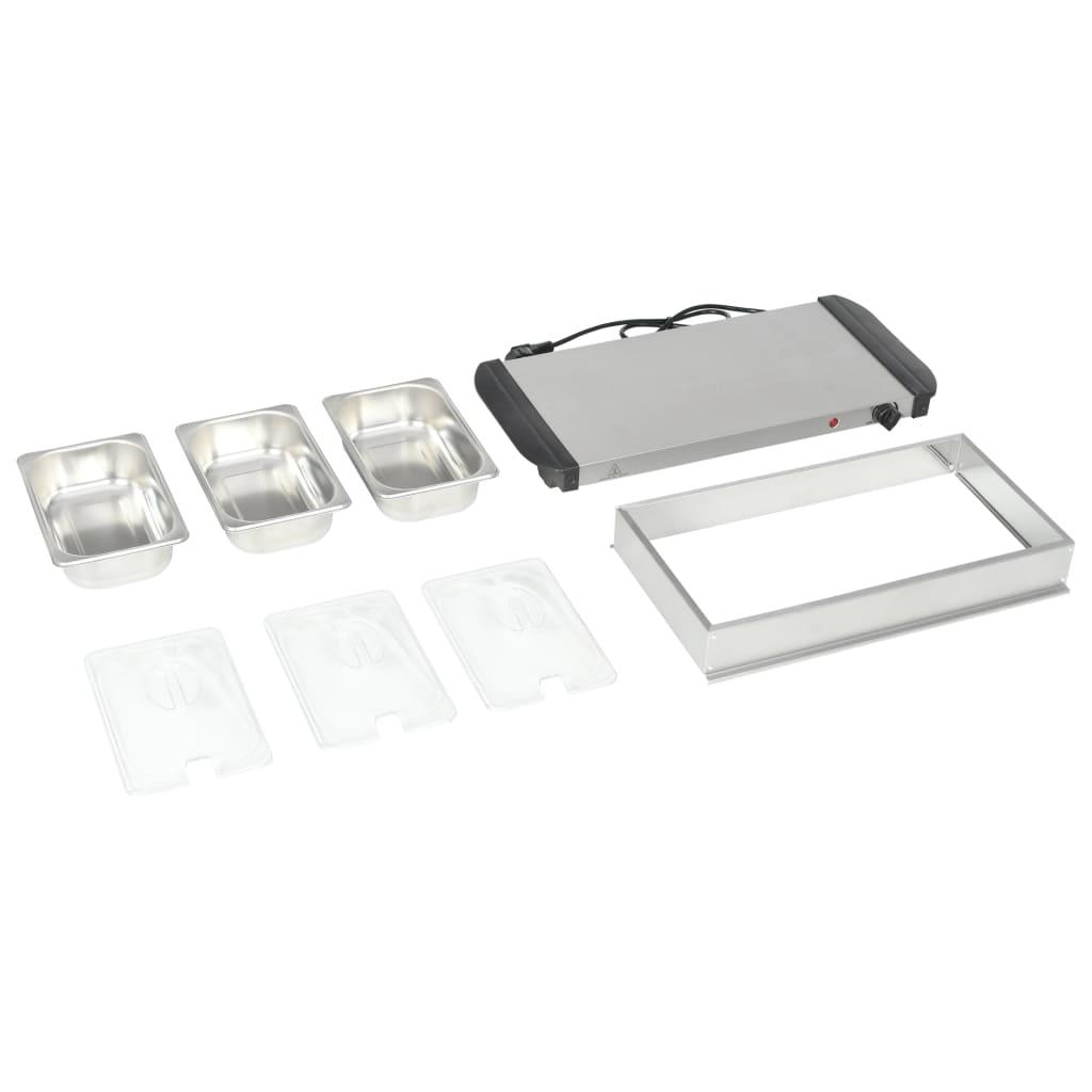 vidaXL Încălzitor de servire bufet, 200 W, 3 X 1,5 L, oțel inoxidabil