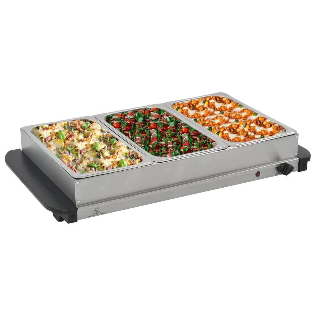 vidaXL Încălzitor de servire bufet, 300 W, 3 X 2,5 L, oțel inoxidabil