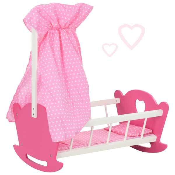 vidaXL Pătuț de păpuși cu baldachin, roz, 50 x 34 x 60 cm, MDF