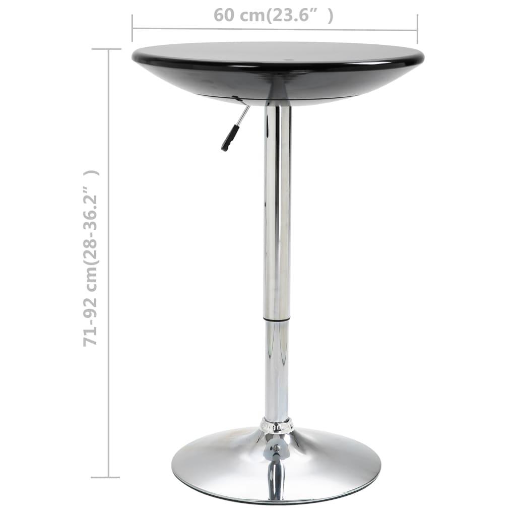 vidaXL Masă de bar, negru, Ø60 cm, ABS