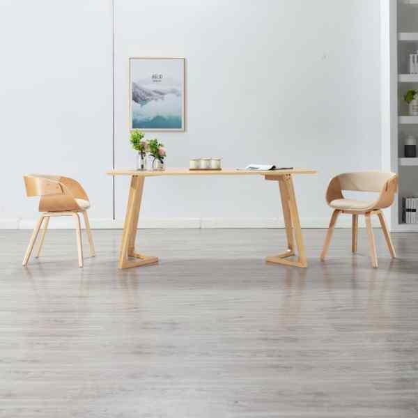 vidaXL Scaun de bucătărie, crem, lemn curbat și piele ecologică