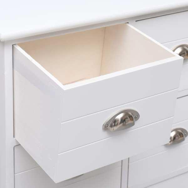 Dulap lateral, 6 sertare, alb, 60x30x75 cm, lemn paulownia