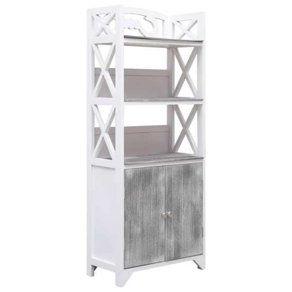 vidaXL Dulap de baie, alb și gri, 46 x 24 x 116 cm, lemn de paulownia