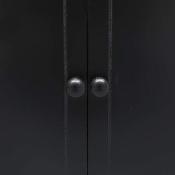 Dulap de baie, negru, 46 x 24 x 116 cm, lemn de paulownia