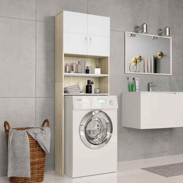 vidaXL Dulap mașină de spălat alb & stejar Sonoma 64×25,5×190 cm PAL