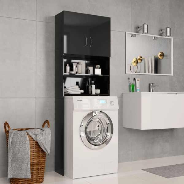 vidaXL Dulap mașina de spălat, negru extralucios, 64×25,5×190 cm, PAL