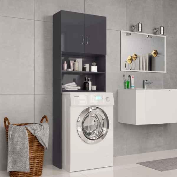 vidaXL Dulap mașina de spălat, gri extralucios, 64×25,5×190 cm, PAL