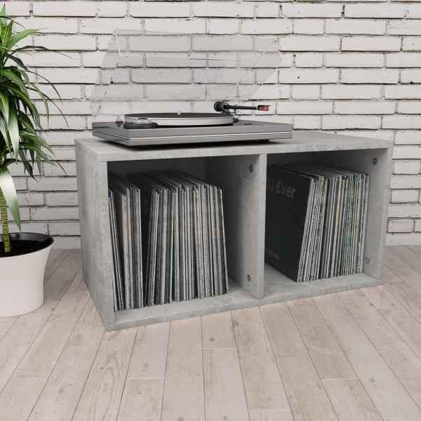 vidaXL Cutie de depozitare vinyl-uri, gri beton, 71 x 34 x 36 cm, PAL