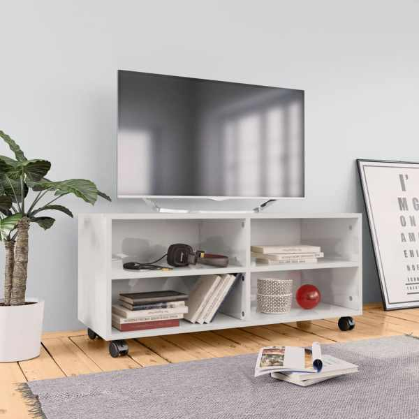 vidaXL Comodă TV cu rotile, alb extralucios, 90x35x35, PAL